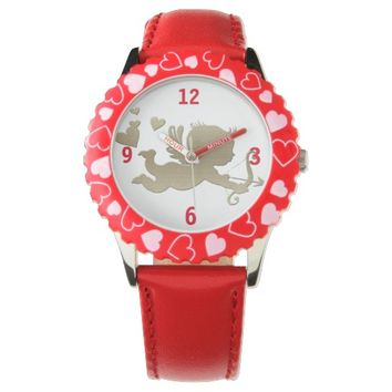 Cupid and heart's decorate this watch