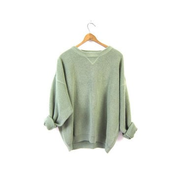 Sage Green Sweater 90s Ribbed Cotton Pullover Mens Boyfriend Sweater Plain Long Sleeve Top Basic Knit Shirt Preppy Grunge Vintage Medium