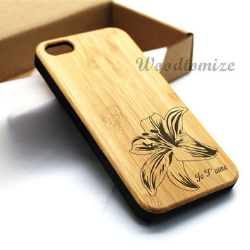 Wood print personalized name word case, Real wood, iPhone 5C case, iPhone 5S 5 case, Bamboo, Cherry wood, Sapele wood, FREE screen protector