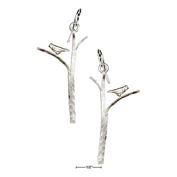 Sterling Silver Earrings:  Hammered Tree With Bird Earrings