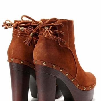 Laced Back Camel Clog Ankle Boots