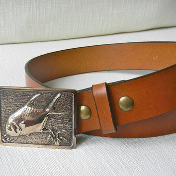 Handmade Bronze Fish Belt Buckle Leather Belt, Permit Fish, Fly Fishing Buckle, Men's Accessory Snap Belt Made in the USA
