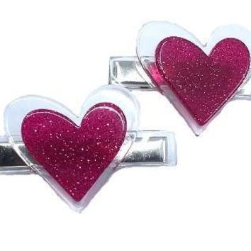 Lilies & Roses NY Girl's Dark Pink Heart Alligator Clips (Set of 2)