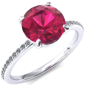 Flora Round Ruby 4 Prong 1/2 Bead Eternity Diamond Accent Engagement Ring