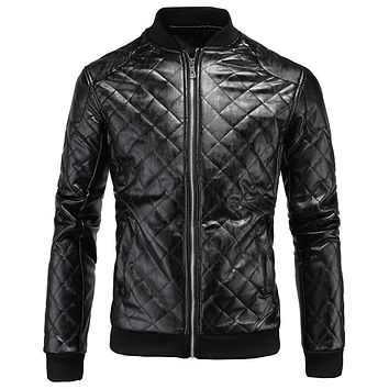 New Arrivals Men Plaid Leather Suede Jackets Men Faux Leather Jacket and Coat