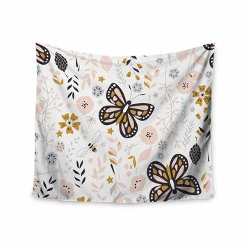 "Bluelela ""Butterflies And Flowers 001"" Pink Beige Nature Pattern Digital Vector Wall Tapestry"
