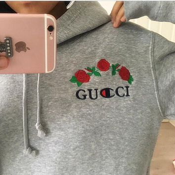 GUCCI Trending Women Men Casual Hot Sale long flower rose print champion sweater grey hoodie pullover sweatershirt I