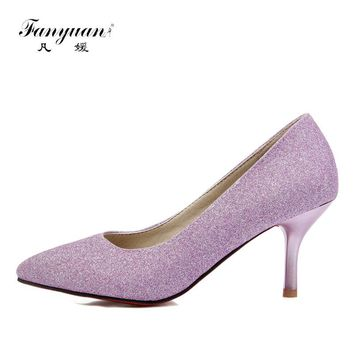 Fanyuan Women High Heels Pumps Purple Shoes Ladies Silver High Heels Sexy Bling Pointed Toe Evening Wedding Shoes Women Footwear