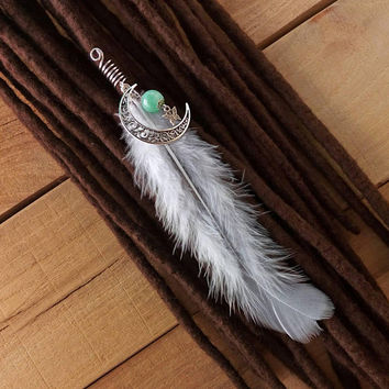Silver wire hair jewelry, feather dread bead, moon, wicca jewelry, pagan gifts, 7 mm, witchcraft