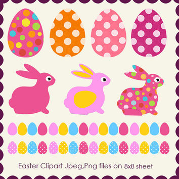 Happy Easter Clipart - JPEG , PNG Instant Download - Commercial Use - 8x8 Sheet - Scrapbook Kit - Embellishments - High Quality 300 dpi