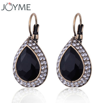 Black glass crystal vintage earring for women retro antique gold plated drop water charm clip on earring E313JM