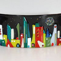 Fused dichroic glass cityscape, starry night, home decor