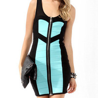 Zippered Bandage Dress