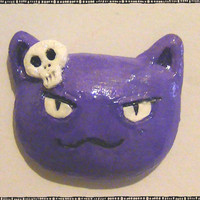 Skull Hairpin Bad Kitty Head Polymer Magnet