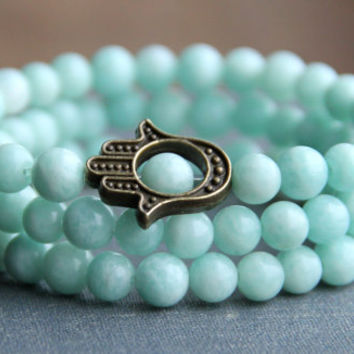 Turquoise mint bracelets Beaded gemstone stretch bracelet Elastic triple bracelets Women Hamsa hand Boho Chic bracelet Stackable bracelet