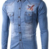 jeansian Men's Fashion Eagle Embroidery Long Sleeves Denim Shirt 8746