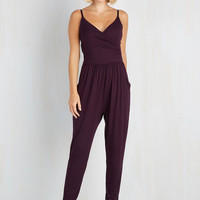 Boho Long Sleeveless Tapered Leg Slicker Than Your Average Jumpsuit in Plum