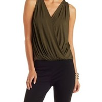Olive Pleated Wrap Tank Top by Charlotte Russe
