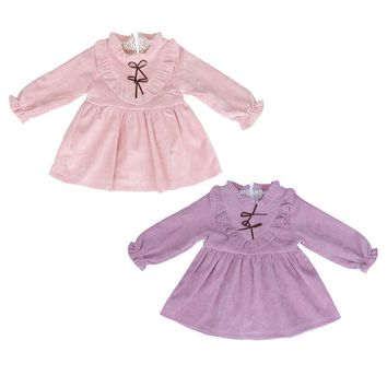 Korean Fashion Baby Girls Kids Falbala Cute Party Princess Tutu Dress Autumn Spring Baby Girl Dresses Special Occasion Dress