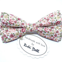 Bow Tie - floral bow tie - wedding bow tie - white bow tie with peach color flowers - man bow tie - men bow tie
