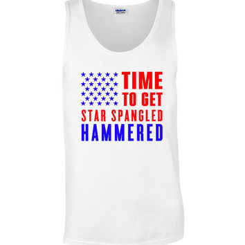 4th of July Funny Patriotic Tank Top Sleevless Tee Shirt Get Star Spangled Hammered 4th of July Shirt Women Men Outfit. Independence Day 4J8