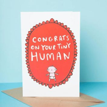 Congrats On Your Tiny Human Funny New Baby Congratulations Card Pregnancy Card Baby Shower Card FREE SHIPPING