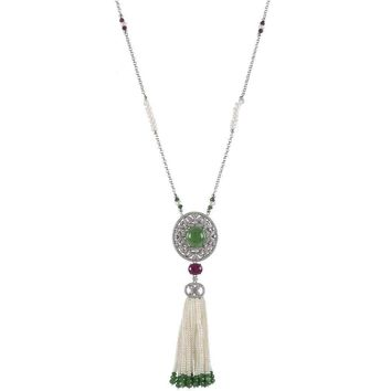 Fringe Pearl Necklace with Jade Cabochon Stone
