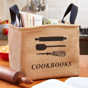 Cookbook Storage Bin Kitchen Utensil Print Lined Interior Handles Rustic Country