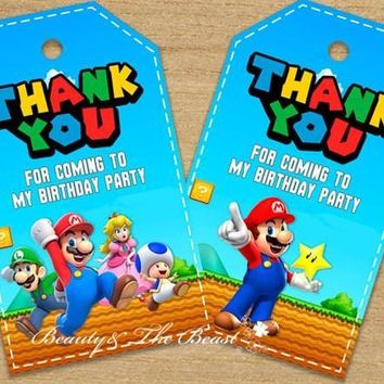 Super Mario party nes switch  Favor Tags Thank You Tags  Bros Gift Favors Birthday Party Decorations Kids Party Supplies AT_80_8
