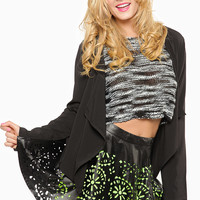 Laser Cut Faux Leather Circle Skirt
