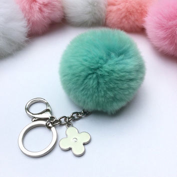 Silver Summer Series candy green REX Rabbit fur pompom keychain ball with flower bag charm