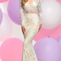 Mock Two-Piece Lace Prom Dress with Long Sleeves