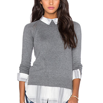 Cambridge Layered Sweater in Grey & Grey Plaid