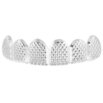 Designer White Gold Finish Top Teeth Mouth Grillz
