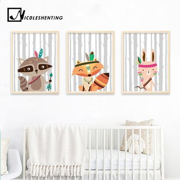 Tribe Woodland Animal Bear Fox Wall Art Canvas Nordic Poster Nursery Prints Cartoon Painting Picture Baby Bedroom Decoration