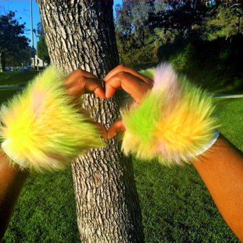 Golden Sherbet Furry Fluffy Rave Wrist Cuffs UV Reactive Unique Sherbert Camo