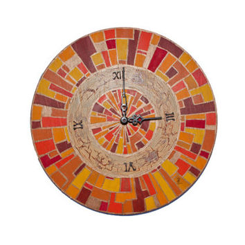 UNIQUE wood WALL CLOCK handmade home decor Hand painted wall decor gold orange red yellow ocher