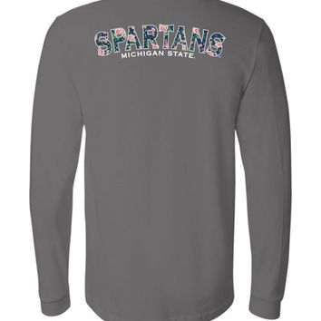 Official NCAA Michigan State University Spartans MSU Sparty Flower Pattern Long Sleeve T-Shirt - 35ms5c