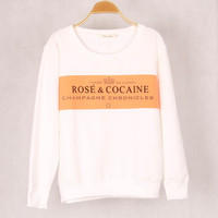 Rose and Cocaine Print Round Neck Short Sleeve Women Cotton Casual Shirt Sweatshirt Top blouse T-shirt b4175