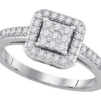 Diamond Fashion Ring in 14k White Gold 0.33 ctw