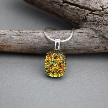 Glass Pendant Necklace - Dichroic Glass Jewelry - Unique Necklace For Women - Orange Necklace Pendant - Autumn Necklace - Fall Jewelry