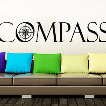 Compass Wall Decal Compass Rose Nautical Vinyl Sticker Navigation Decor C161