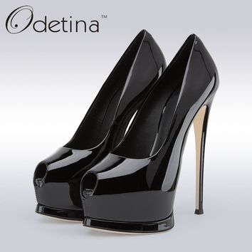 Odetina 2017 Brand Plus Size Women Sexy Open Toe High Heels Platform Shoes Pumps Stiletto Heel Super High Peep Toe Party Shoes