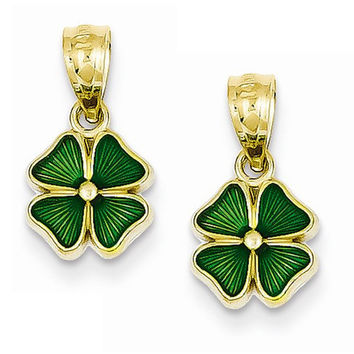 14k Yellow Gold Enameled Four Leaf Clover Hoop Earring Charms
