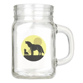 Mother and Wolf Pup Mason Jar