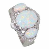 White Fire Opal Ring in Sterling Silver