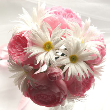 Peonies and Daisies Paper Flowers Bouquet, Wedding Bouquet, Bridal Bouquet, Mother's Day, Centerpiece, Wedding Decoration, Peonies, Daisies
