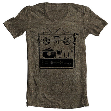 Music Reel to Reel Men's Women's T shirt  by FullSpectrumClothing