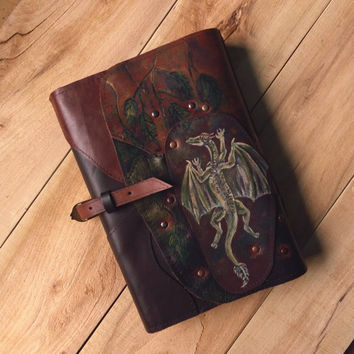 Dragon leather book cover, Fantasy book cover, Metal dragon genuine leather book cover, Patchwork renaissance book cover,  Medieval