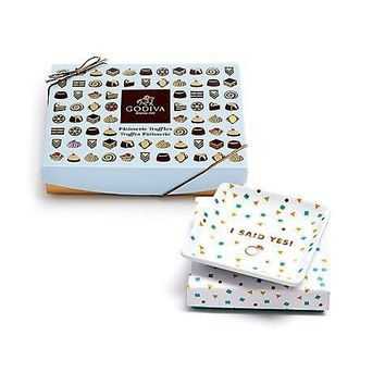 GODIVA I SAID YES SQUARE TRAY & DESSERT PATISSERIE TRUFFLES GIFT BOX 12 PC. $39